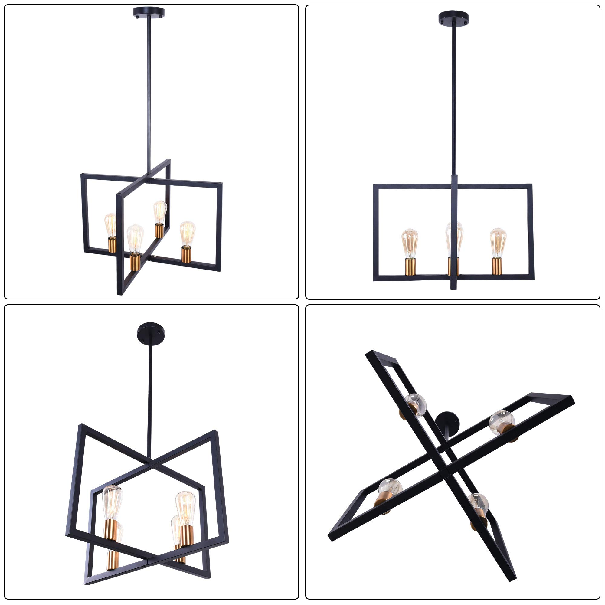 Lingkai Modern Kitchen Island Light 4-Light Chandelier Pendant Light Ceiling Lighting Fixture Industrial Matte Black with Antique Brass Finish by Lingkai (Image #3)