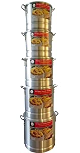 Tamale Steamer Vaporera Stock Pot Aluminum Tamale / Steamer 1 Set of 52 quart + 40 quart +32 quart + 24 quart +20 quart with steamer inserts and lids.