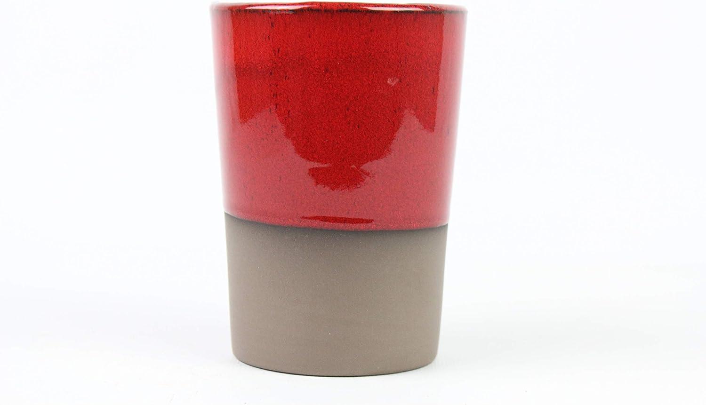 ARTESANIAROCA Vaso de Barro 500ml, con esmaltado de Colores Vulcano. Made in Spain. Medidas 9cm diámetro x 13cm Altura. Vaso Agua, Cerveza, cóctel. (Rojo)