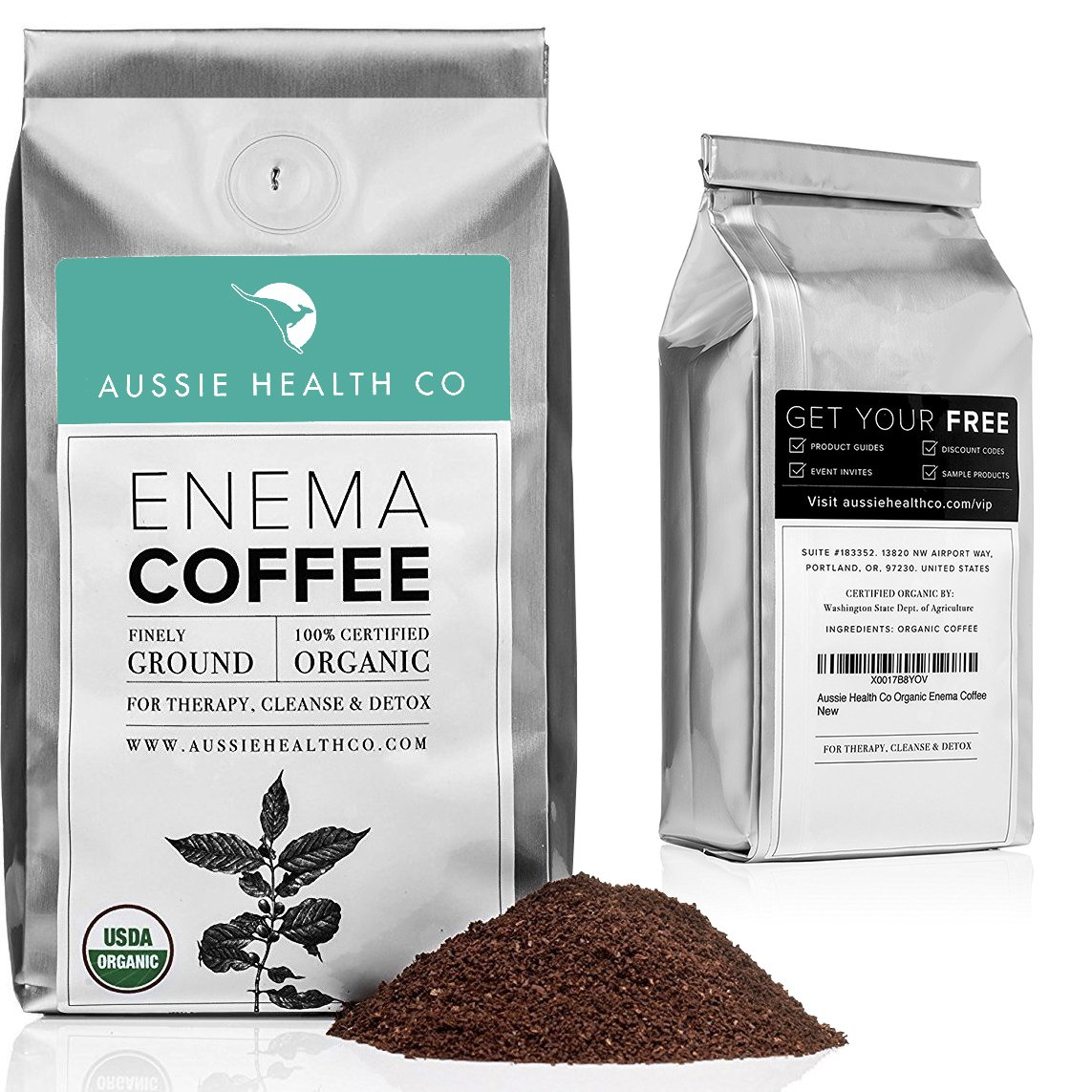 AUSSIE HEALTH CO 419° Roasted Organic Enema Coffee (1LB) for Unmatchable Enema & Gerson Cleanses. 100% USDA Certified Pre-Ground Organic Beans. Made in Seattle. by AUSSIE HEALTH CO