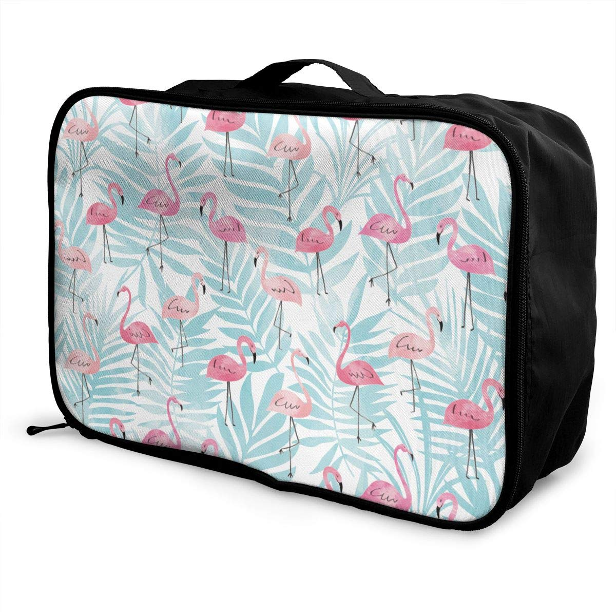 YueLJB Pink Flamingo Leaves Lightweight Large Capacity Portable Luggage Bag Travel Duffel Bag Storage Carry Luggage Duffle Tote Bag