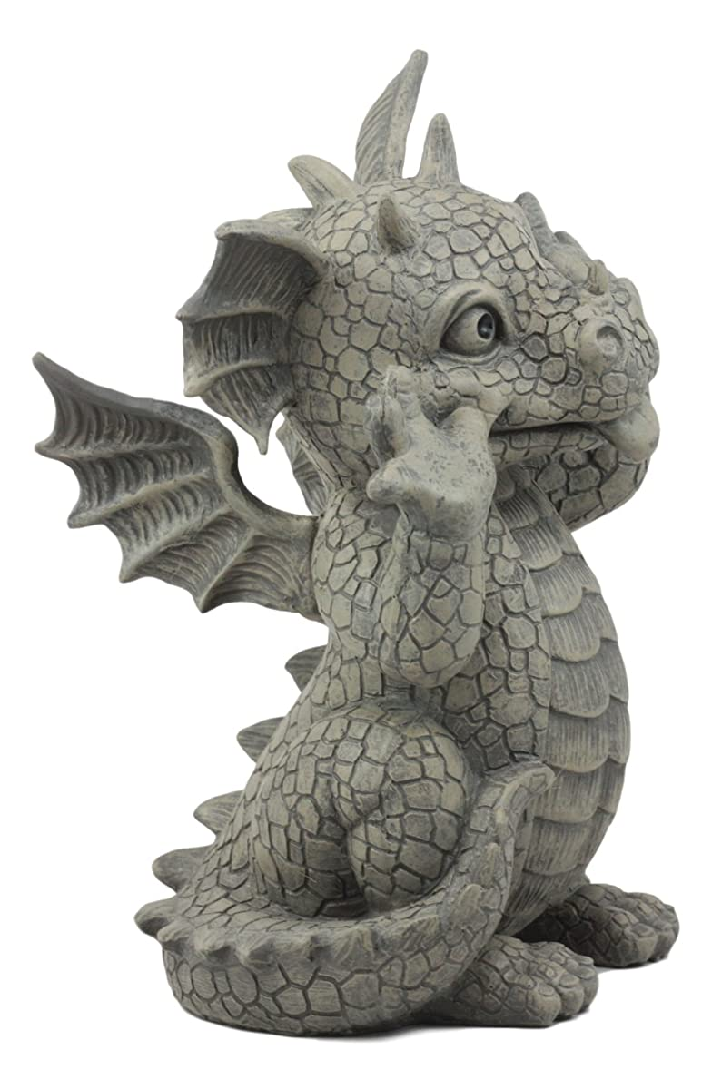 "Ebros Whimsical Garden Dragon Making Funny Faces Statue 10.25"" H Cute Baby Dragon Faux Stone Resin Finish Figurine"