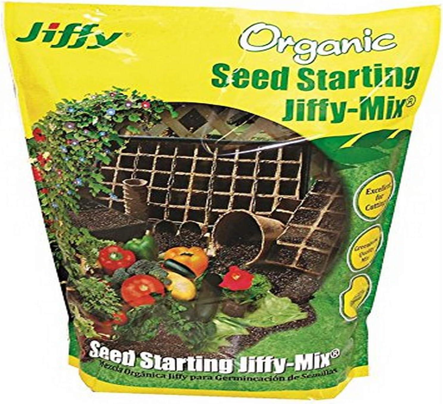 Jiffy 617407738063 (G316) Natural & Organic Starter Mix 16 Quart, Pack of 1, Brown/A