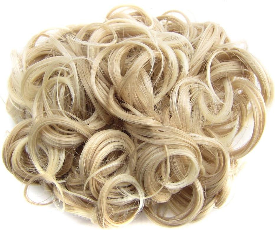 PIXNOR Moño rizado corto cabello moño extensión pelo peines Clip en la extensión de cola de caballo (oro claro)