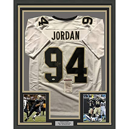 4c12e922ce4 Image Unavailable. Image not available for. Color: Framed Autographed/Signed  Cam Cameron Jordan 33x42 New Orleans Saints White Football Jersey JSA COA