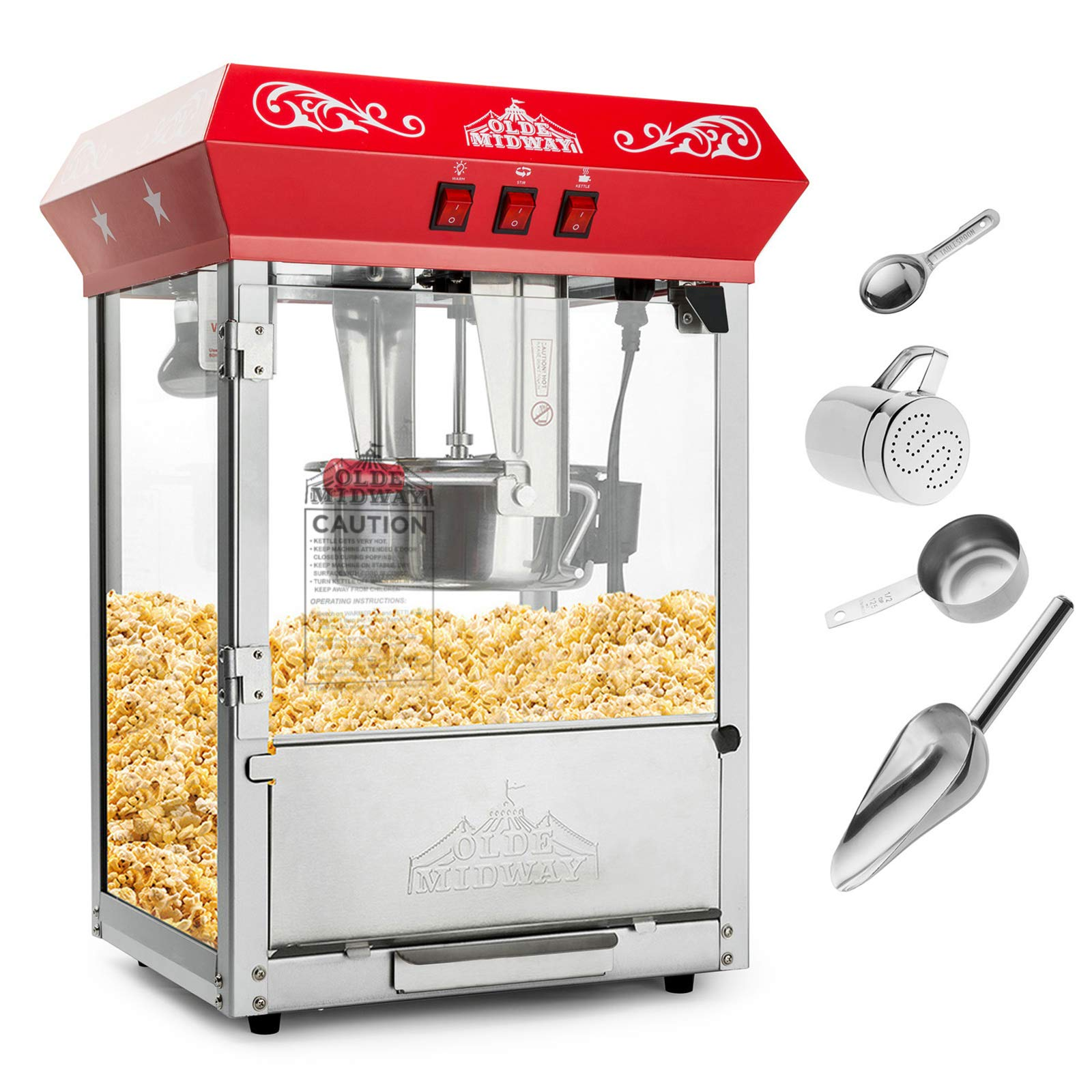 Olde Midway Bar Style Popcorn Machine Maker Popper with 10-Ounce Kettle - Red by Olde Midway