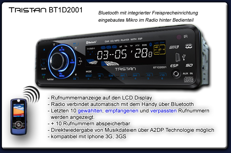 Tristan Auron BT1D2001 Autoradio Bluetooth Touchbutton USB MP3 SD ...