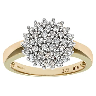 e0e46bfe6f25b Naava 9ct Yellow Gold Diamond Cluster Ladies Ring