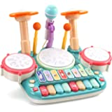 CUTE STONE 5 in 1 Musical Instruments Toys,Kids Electronic Piano Keyboard Xylophone Drum Toys Set with Light, 2 Microphone, L