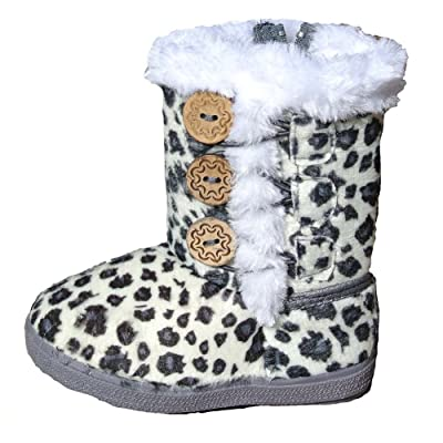 Toddler Little Girls Casual Faux Fur Winter Leopard Print Suede Button Boots