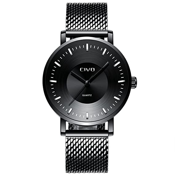 CIVO Relojes para Hombres con Banda de Malla de Acero Inoxidable Ultra Fino Minimalista Reloj de Pulsera Lujo Elegante Negocio Moda Caballeros Reloj ...