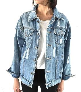 cd9438ba5f10 AngelSpace Women Classic Casual Ripped-Holes Jean Denim Baggy Jacket Coat