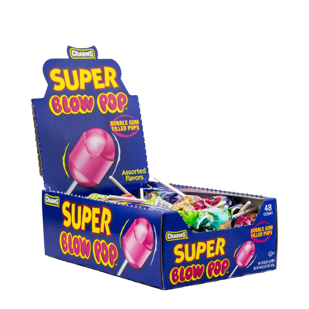 Charms Super Blow Pops 48 Lollipops/Box,Assorted Flavors by Tootsie Roll