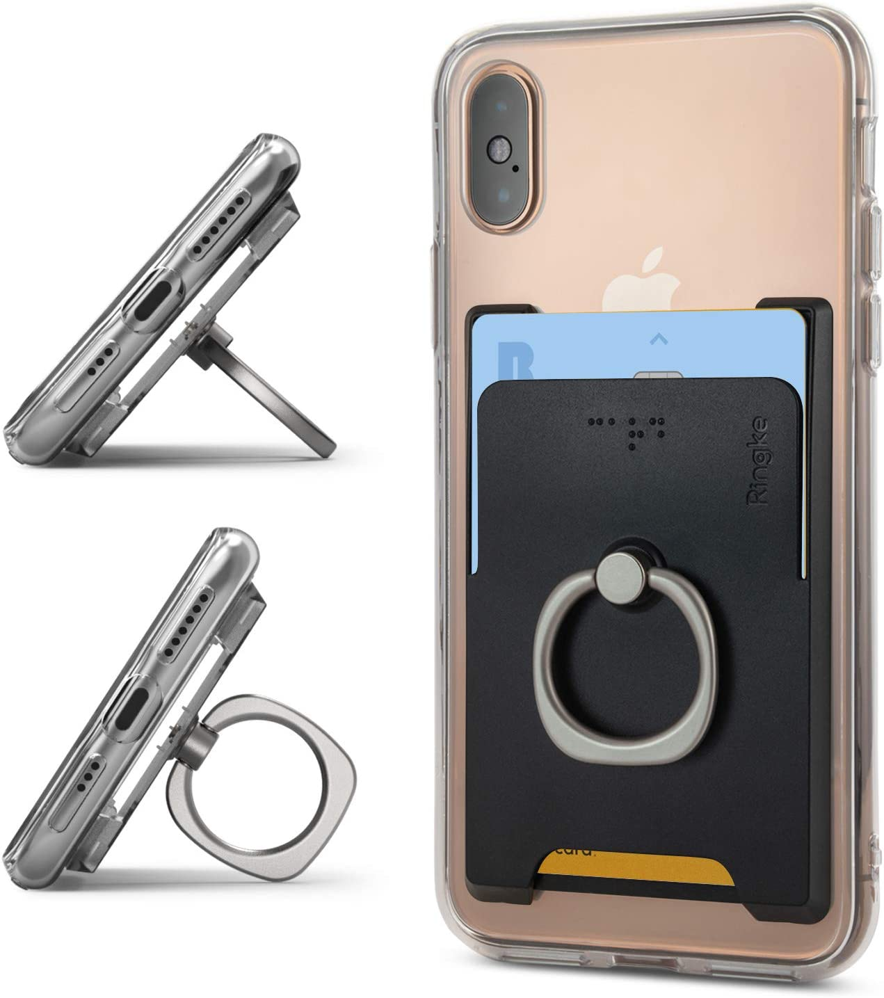 Peach Pink Ringke Ring Slot Card Holder Slim Adhesive Attachment with Finger Ring Compatible for Galaxy S20 Series iPhone 11 Series Pixel 4 Series and More