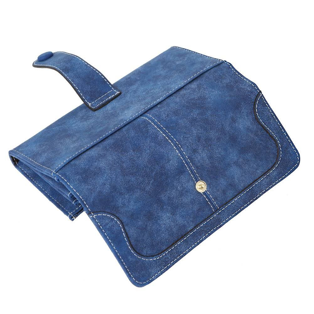 Women's Vegan Leather 17 Card Slots Card Holder Long Big Bifold Wallet,Navy by Cynure (Image #4)