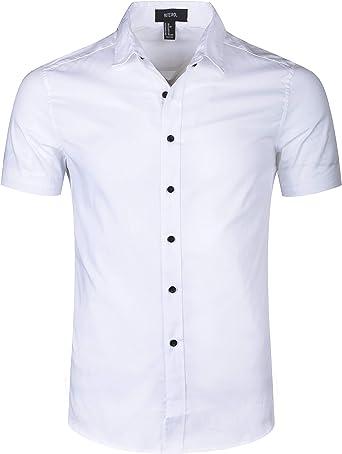 Camisa Manga Corta Camisetas de Trabajo para Hombres con Botones, Shirt Ajustada para Verano, Slim Fit, Regular Fit y Casual: Amazon.es: Ropa y accesorios