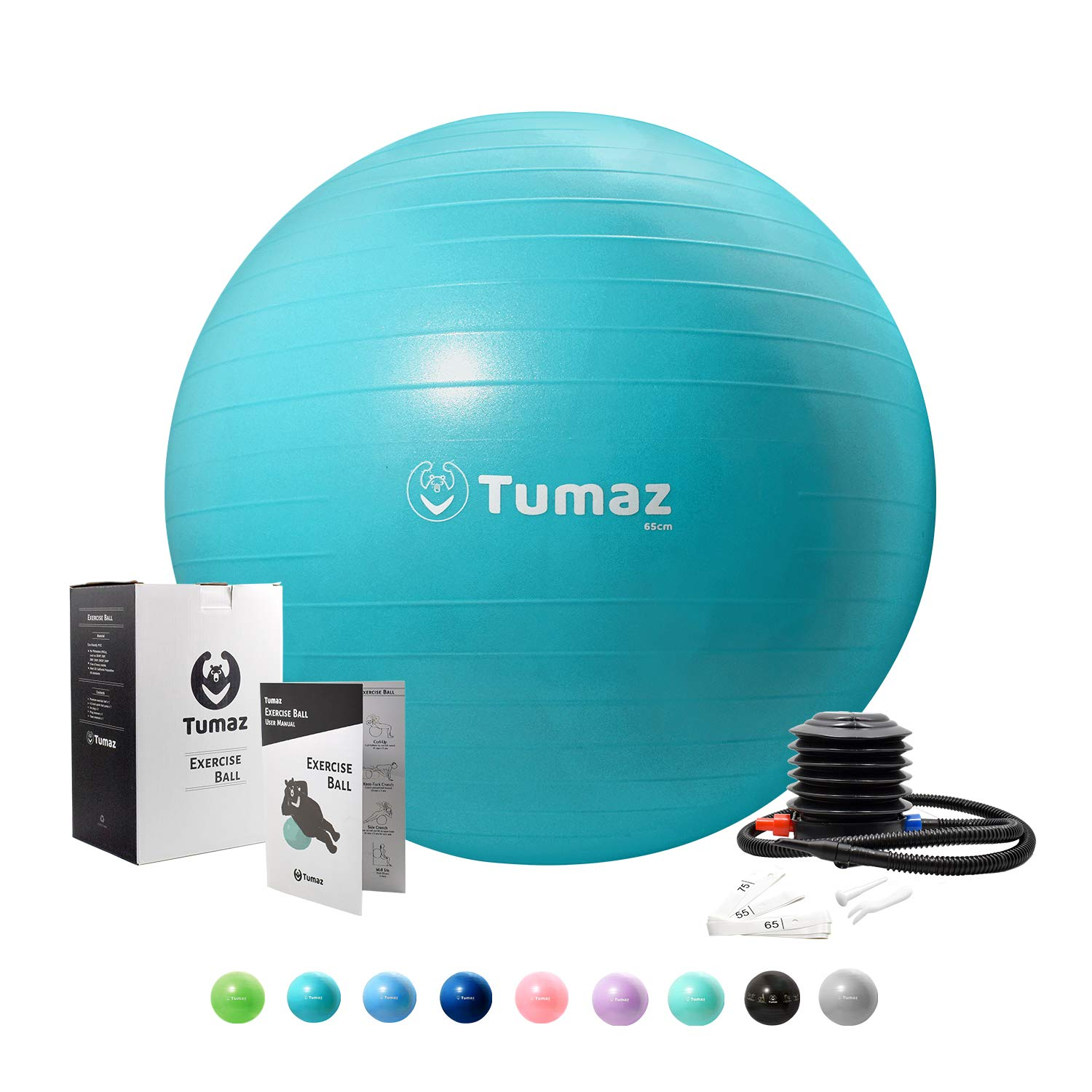 Tumaz Exercise Ball with Quick Pump, Anti Burst/Extra Thick/Heavy Duty, Great for Ball Chair, Birth Ball, Balance Ball, Swiss Ball, Pilates, Yoga, and More