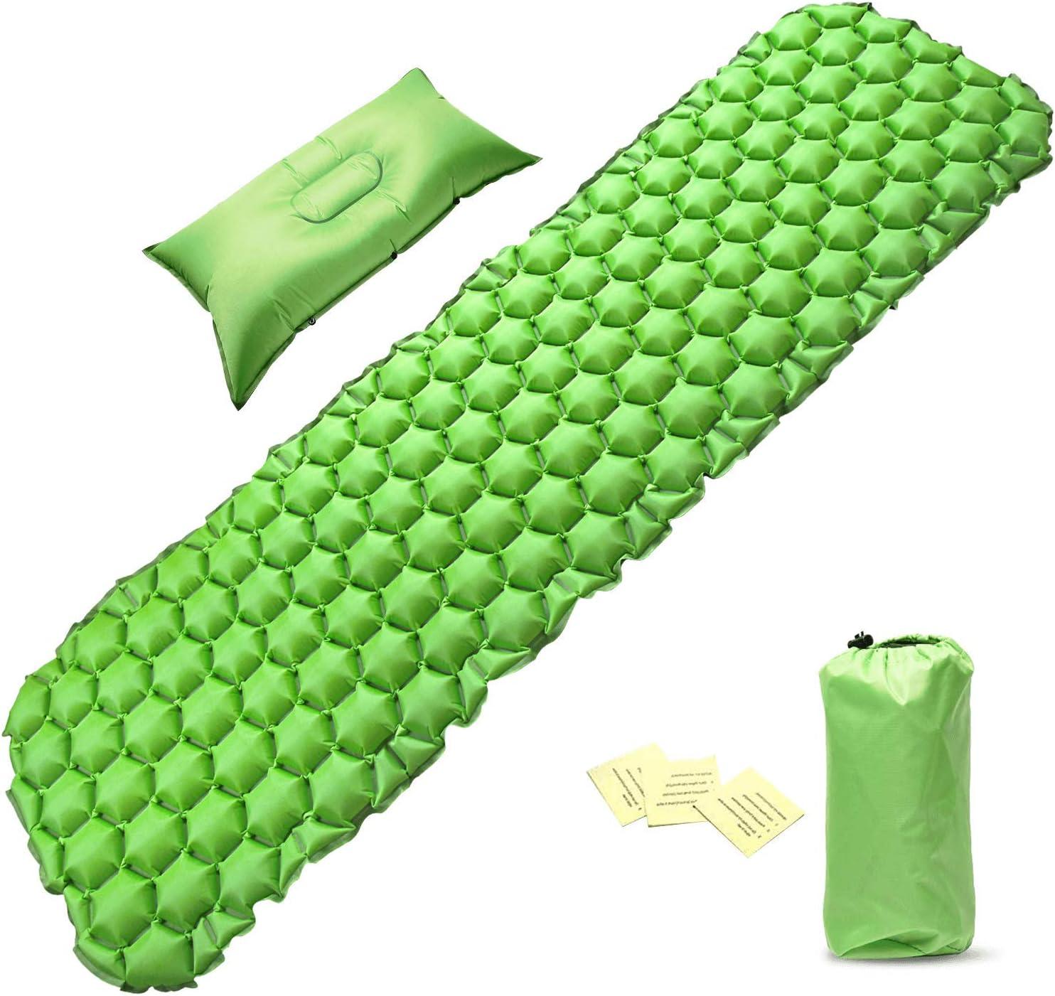 Inflatable Compact Camping Sleeping Pad Hiking Air Mattress Green w// Pillow**