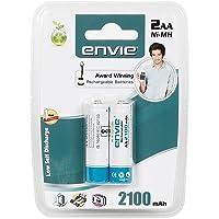 Envie AA21002PL 2 x AA 2100mAh Ni-Mh Rechargeable Batteries (White)