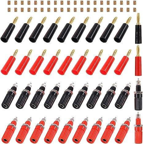 40pcs 20 Pair Closed Screw Speaker Wire Banana Plugs Audio Gold Connectors