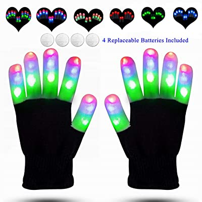 LED Gloves Finger Lights Glowing Rave LED Gloves Light Up Finger Lights Rave Gloves 3 Colors 6 Modes Flashing Gloves for Halloween Costume Christmas Party Birthday Light Up Toys for Kids: Toys & Games