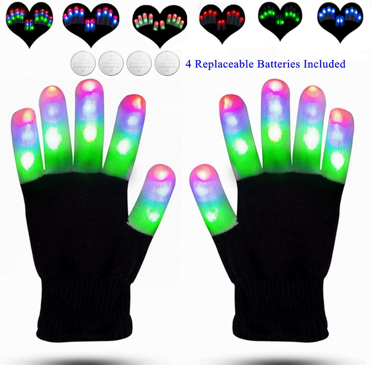 2x LED Rave Flashing Gloves Glow 7 Mode Light Up Finger Lighting Party Kids Xmas