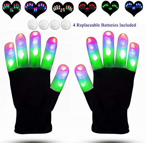 Kids LED 7 Model Rave Flashing Gloves Glow Light Up Finger Lighting Party Gifts