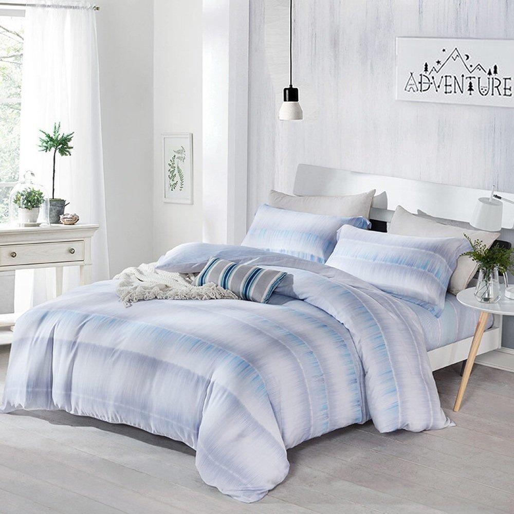ネイフ 100%コットン4枚ベッドシーツセット 高級低刺激性クール&通気性寝具 1 *掛け布団カバー/ 1 *ベッドシートと2つの枕ケース 非常に耐久性のある 寝具セット B076DZP2CJ