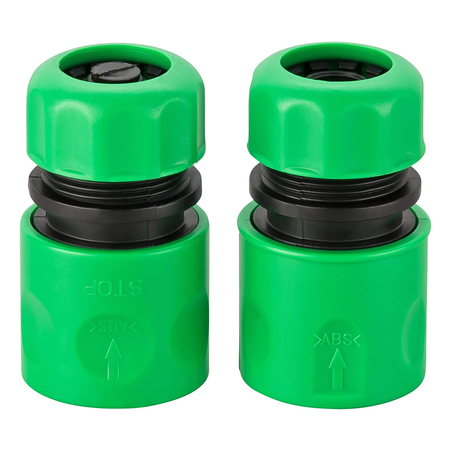 GardenMate Pack of 2 Plastic Universal Hose End Connectors 13mm (1/2inch) - One With and one Without 'Water Stop' Function