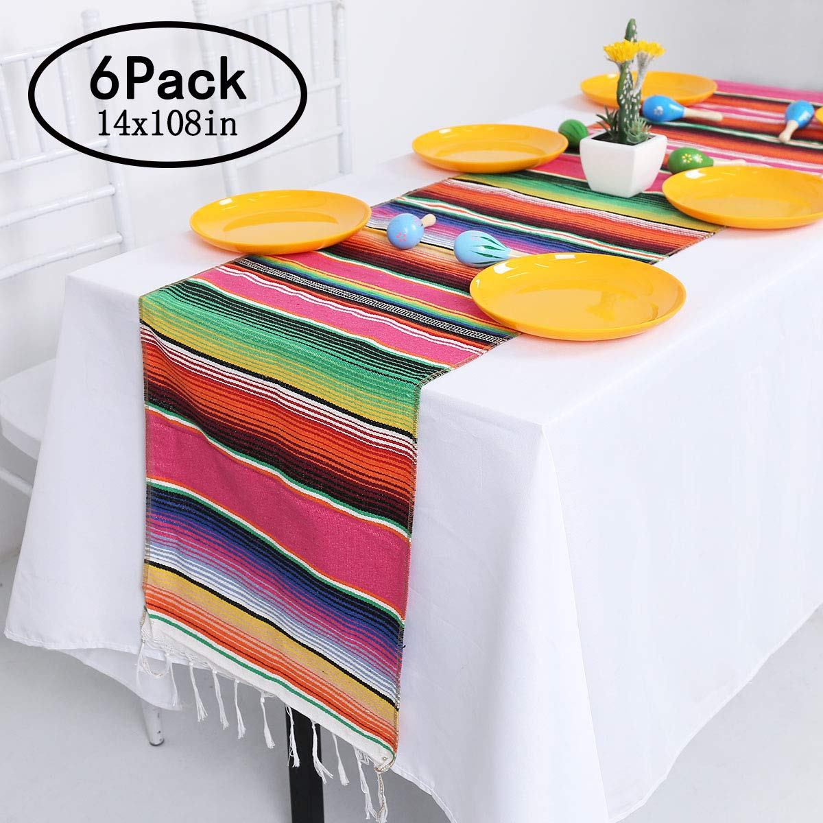 Helaku Mexican Table Runner Mexican Serape Table Runner with Tassels Mexican Table Runner 6 Pack, 14x108