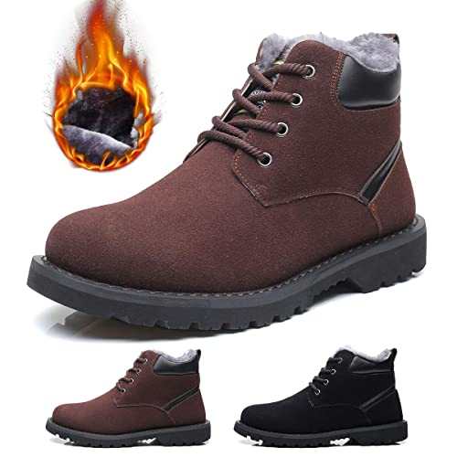 5a07bf2ad080ce gracosy Stivali da Uomo Invernali, Scarpe da Neve in Scamosciate Pelle più  Velluto Martin Boots