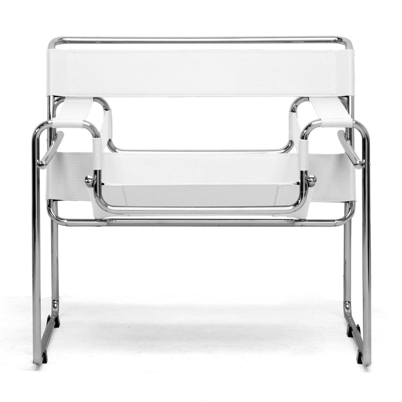 Amazon.com: Baxton Studio Jericho Cream Leather Mid Century Modern Accent  Chair: Kitchen U0026 Dining