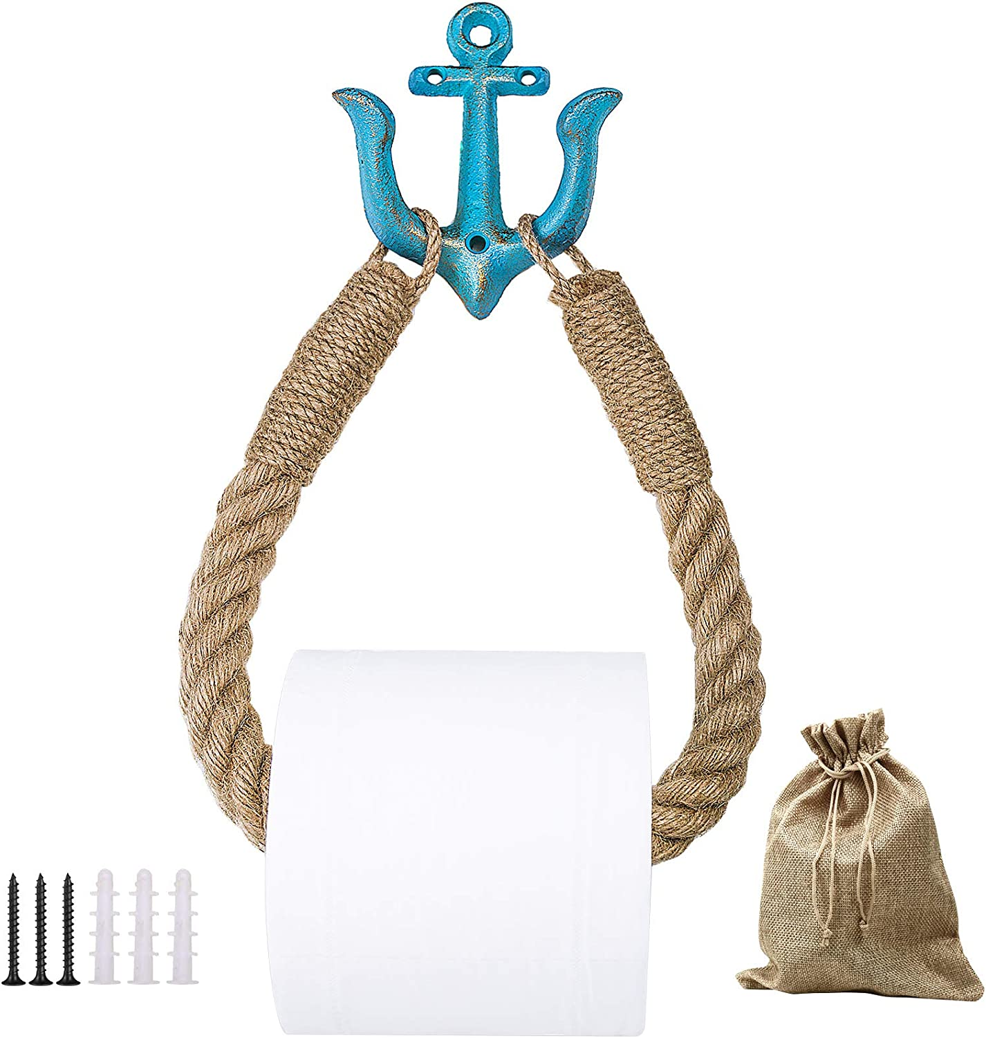 Nautical Toilet Paper Holder Wall-Mounted Rope Paper Roll Holder and Towel Holder for Bathroom, Natural Rustic Jute Rope with Anchor Decor for Nautical Beach Seaside Themed Bathroom (Blue)