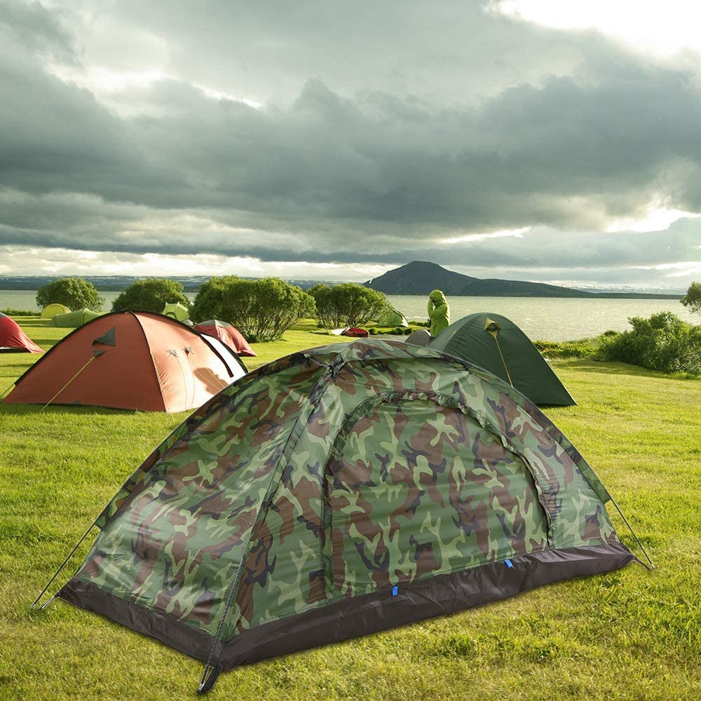 Honeytecs Tent for 2 Person Single Layer Outdoor Portable Camouflage