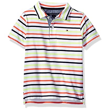 36001435 Tommy Hilfiger Big Boys' Short Sleeve Striped Polo Shirt, Coral Sunset,  Medium (12/14)