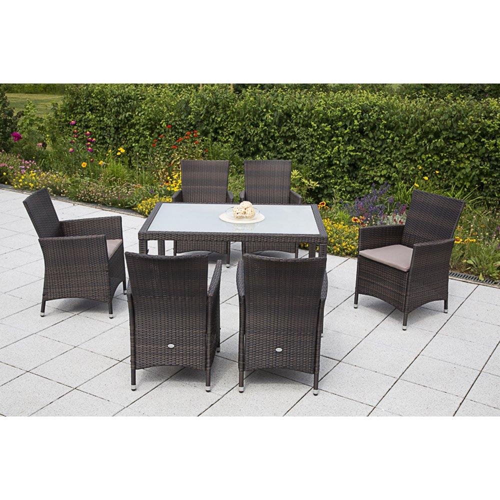 MERXX Gartenmöbel-Set Pesaro 13-tgl. Sessel inkl. Sitzkissen und Tisch 90x90 cm