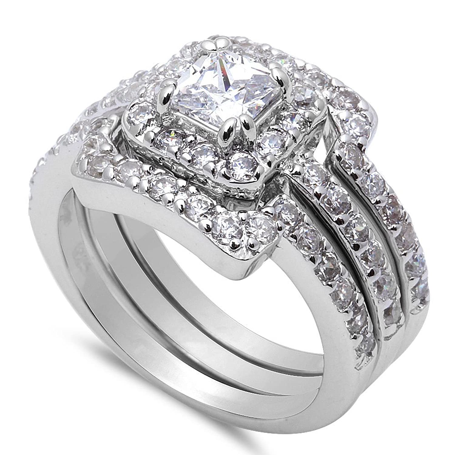 Wonderful Amazon.com: 3 Piece Engagement Bridal Set .925 Sterling Silver Ring Sizes  4 12: Jewelry