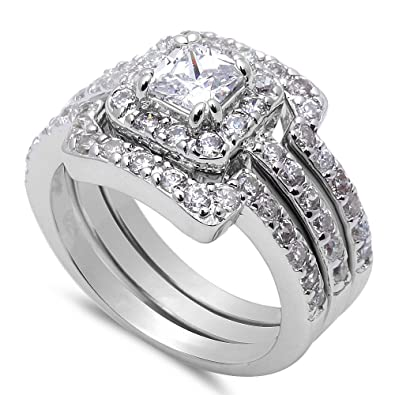 Amazoncom 3 Piece Engagement Bridal Set 925 Sterling Silver Ring
