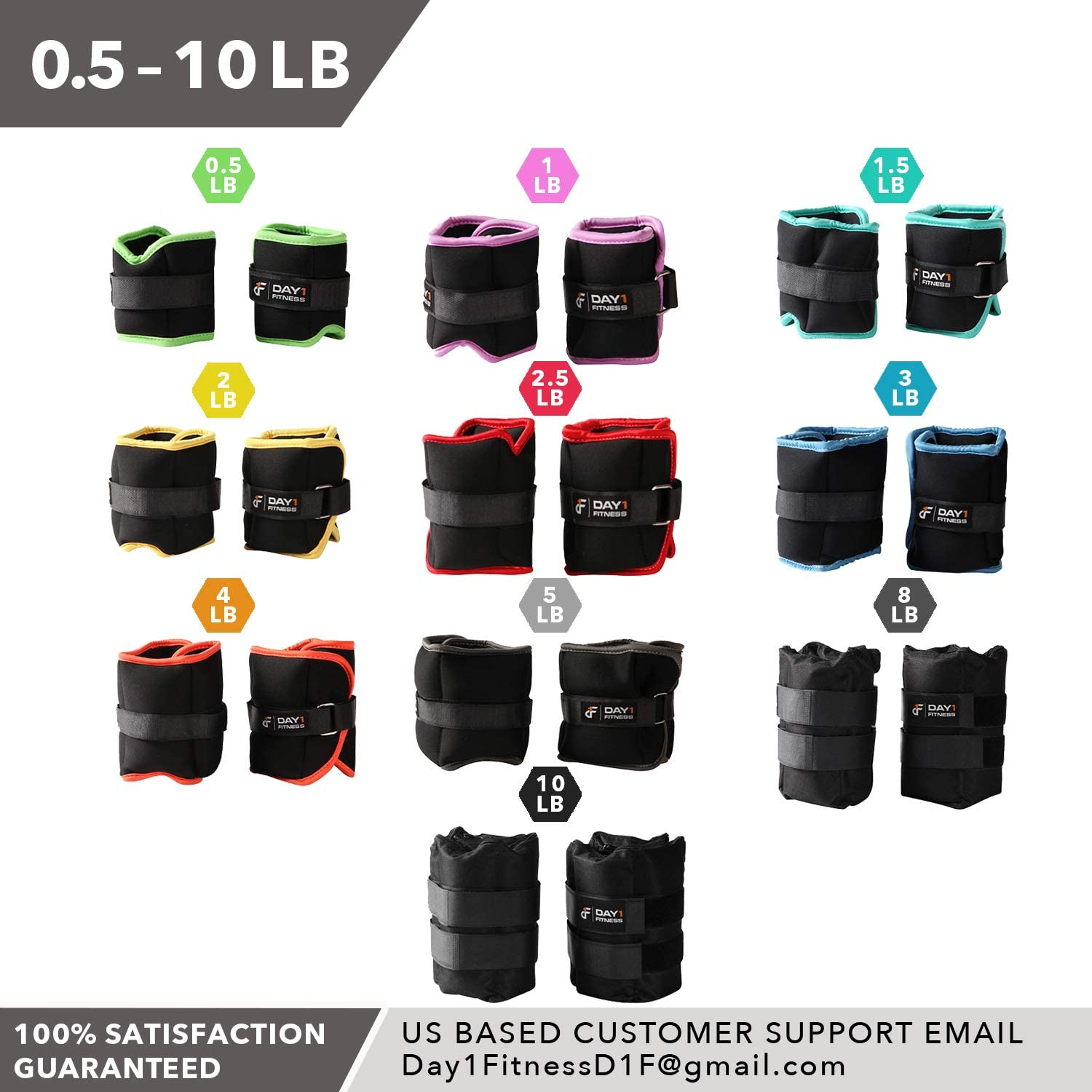 Adjustable Straps Moisture Absorbent Weight Straps for Men and Women 0.5 to 10 lbs EACH Comfortable Weights Set of 2 Breathable Ankle // Wrist Weight Pair by Day 1 Fitness- 10 Weight Options