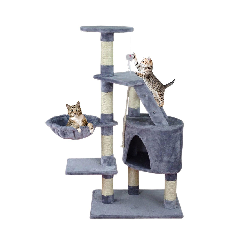 Centro de actividad forma de árbol para gatos Rascador juguete Natural Sisal