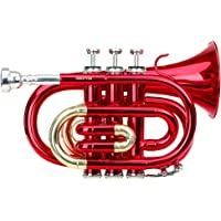 Classic Cantabile Brass Tt 400BB Pocket Trumpet (Brass, Bell 93mm Bore Diameter: 11.8mm, Key B, with Case, Mouthpiece and Cleaning Cloth, Gloves–Red