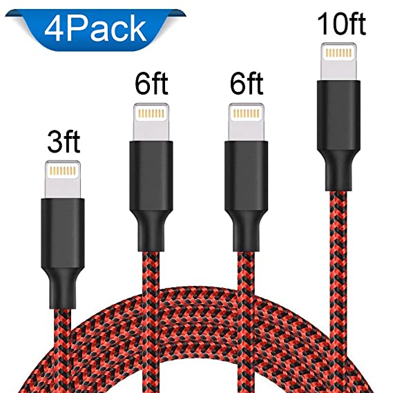 AOFU Compatible Charger Cable 4Pack 3FT 2x6FT 10FT to USB Syncing Data Nylon Braided Cord Charger Compatible with iPhone X/8 Plus/8/7/7 Plus/6/6 ...