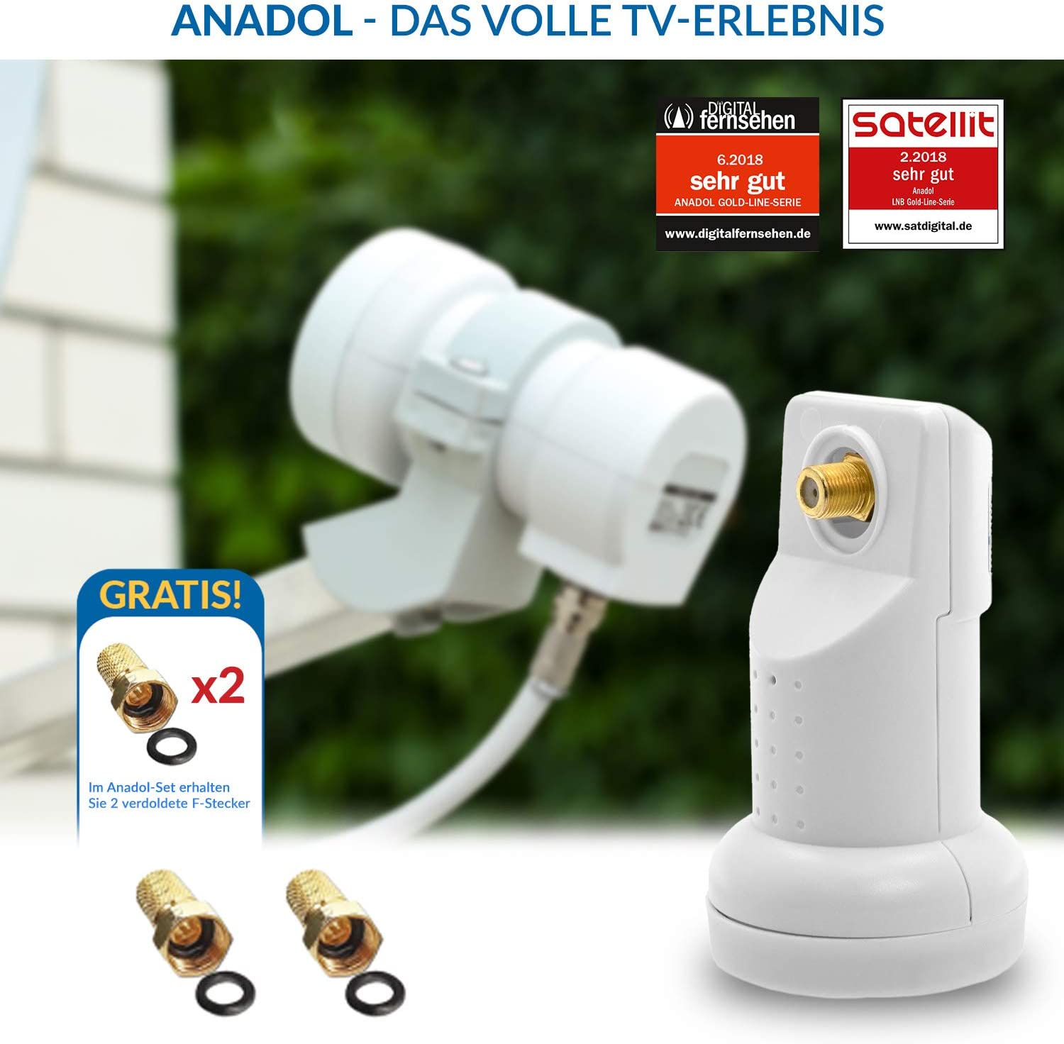 LNB and multi-switch set: Anadol Gold Line 5//4 digital multi-switch for 1 satellite and 4 outputs//receivers Anadol Quattro LNB test very good 17 gold-plated F-connectors free test 2X very good