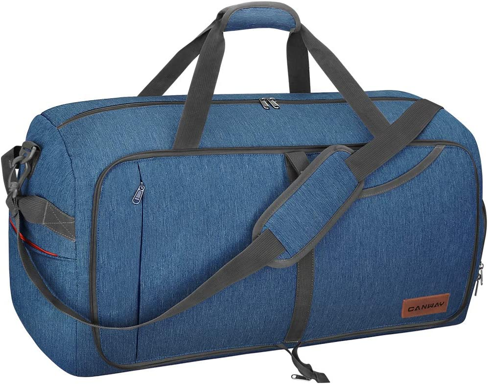 Canway 65L Travel Duffel Bag, Foldable Weekender Bag with Shoes Compartment for Men Women Water-proof & Tear Resistant