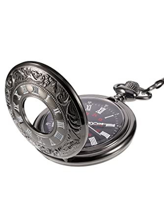 03fec84b8 Amazon.com: Mudder Steampunk Classic Roman Numerals Black Pocket Watch with  Chain: Carrie Hughes: Watches