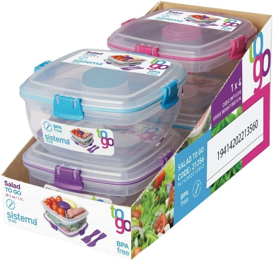 Sistema To Go Collection Salad to Go Food Storage Container (2 Pack), 37 oz, Clear with Assorted Color Accents
