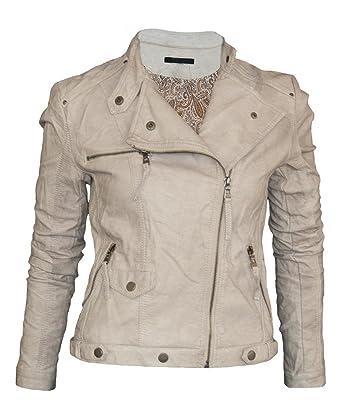 Softy Damen Lederjacke in 30 Farben Biker Style 0508 Vegan Leder, Farbe :beige,