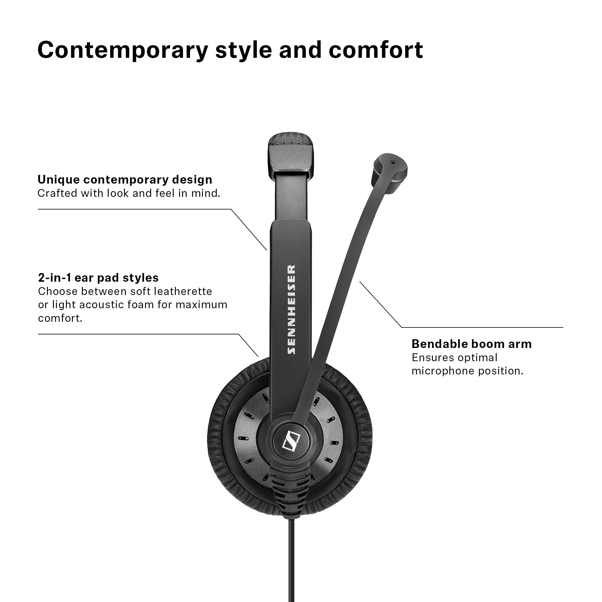 Sennheiser SC 75 (507085) - Double-Sided Business Headset | For Mobile Phone and Tablet | with HD Sound & Noise-Cancelling Microphone (Black) by Sennheiser Enterprise Solution (Image #4)