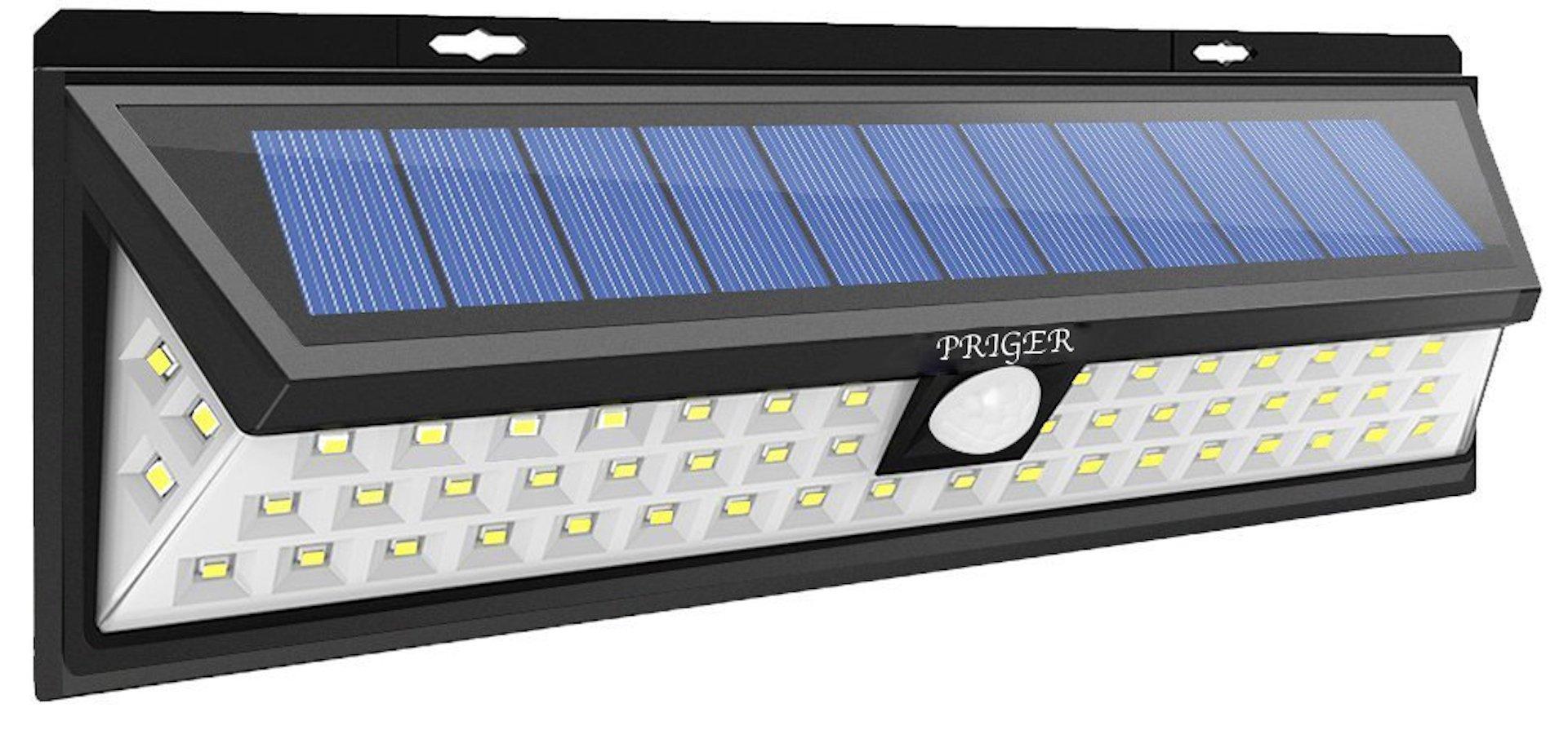 Priger Solar Lights Outdoor Motion Sensor Security Light - Outside LED Flood / Spotlight for Patio, Garden, Deck, Pathway - Waterproof Wireless Solar Powered Yard Lighting / Wall Light