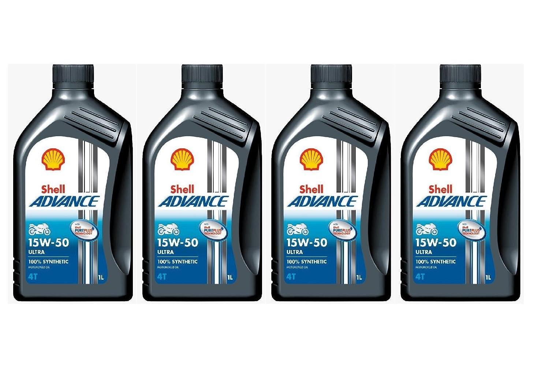 Shell Advance 4T Ultra Lot de 4 bidons de 1 litre d'Huile moteur 100% synthé tique 15w-50 8068057022125
